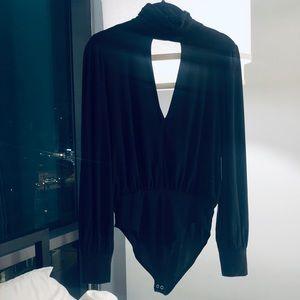 NWT Forever 21 Black Bodysuit halter deep v-neck